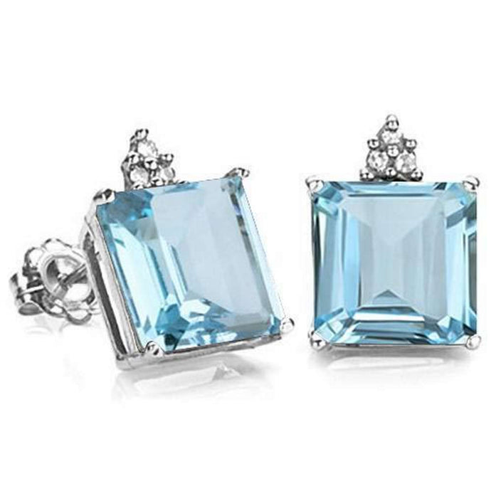 2.62 CARAT SKY BLUE TOPAZ 10K SOLID WHITE GOLD SQUARE SHAPE EARRING WITH 0.03 CTW DIAMOND
