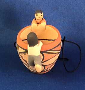 Christmas Ornament Pottery Bowl with 2 figures