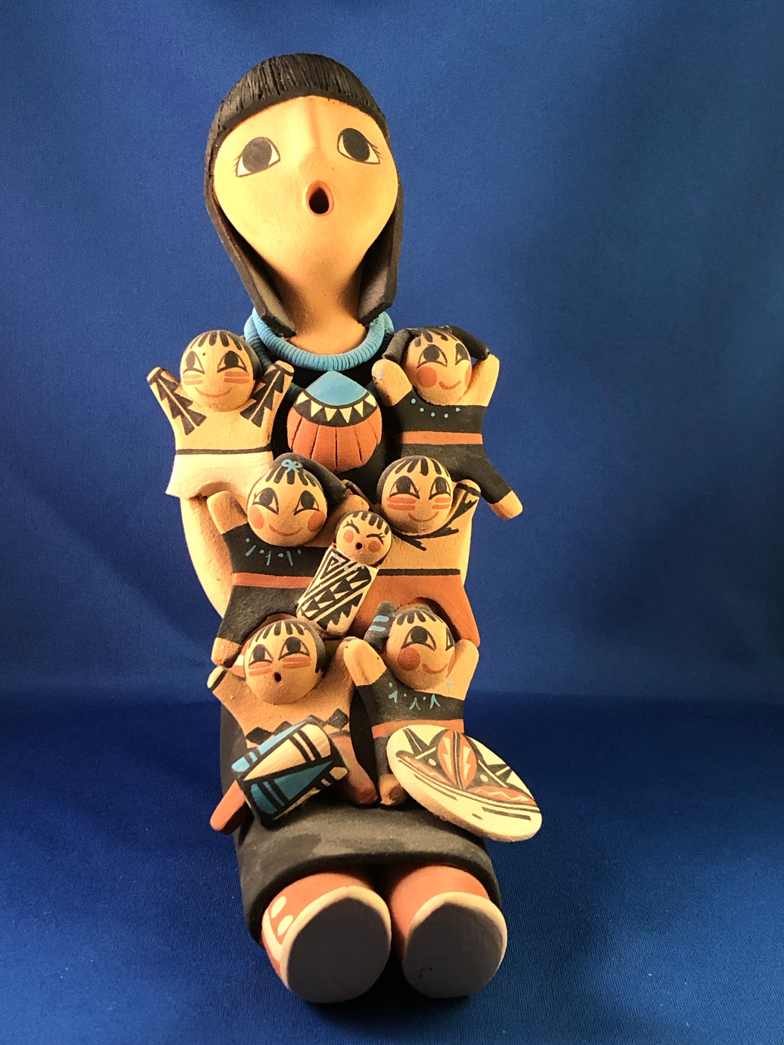 Storyteller Pottery with Seven Children by C. Armijo of Jemez Pueblo NM
