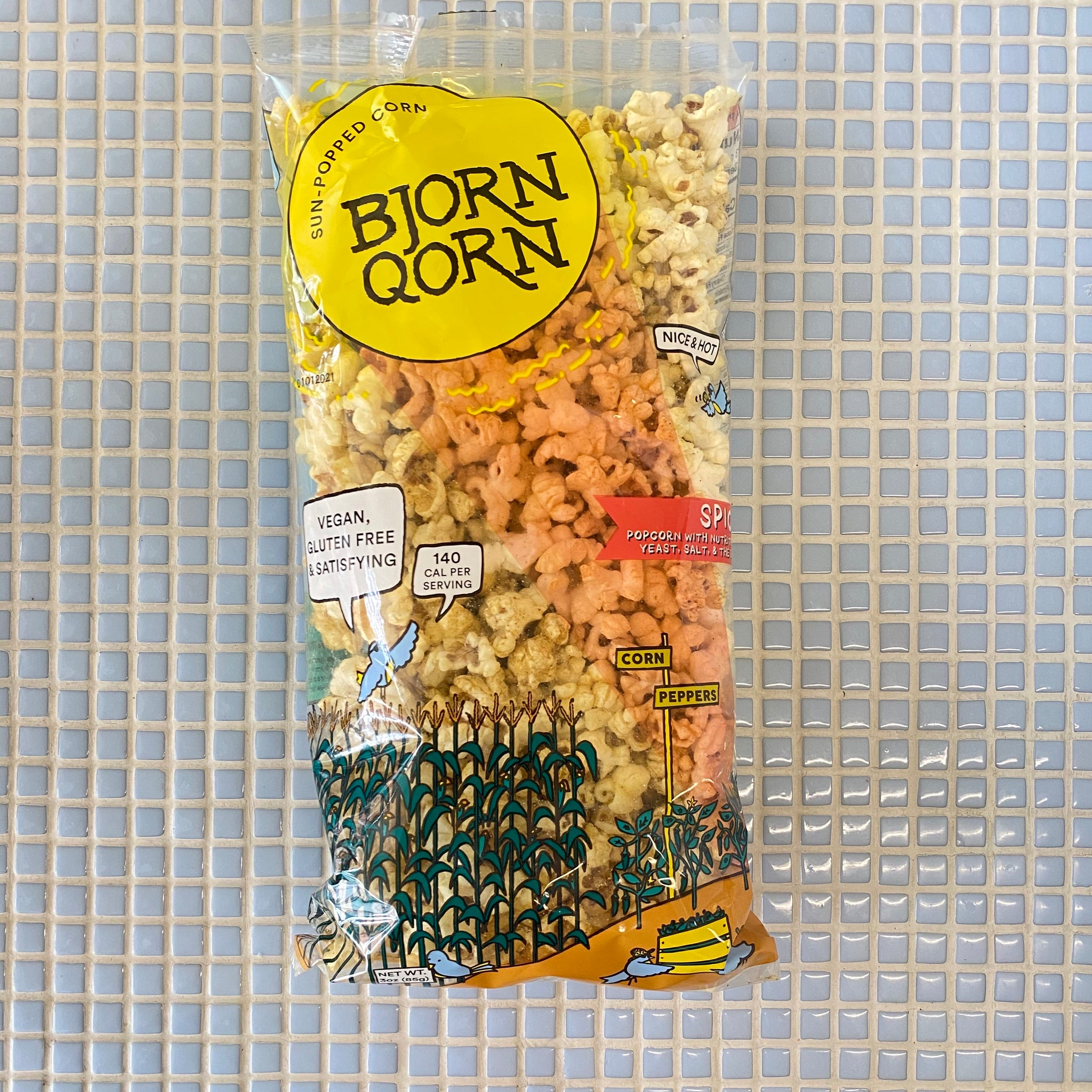 bjorn qorn spicy pop corn with nutritional yeast and salt and spice
