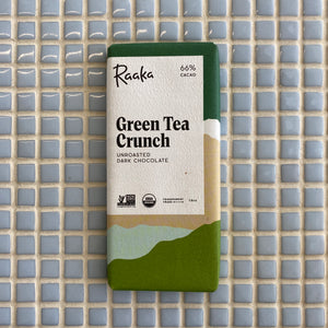 raaka green tea crunch unroasted dark chocolate bar 66% cacao