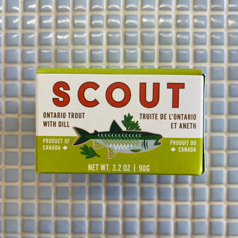 scout tinned ontario trout with dill