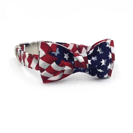 Stars & Stripes Dog Collar- Designer Dog & Cat Collar & Leads Sets - The Paw Empire