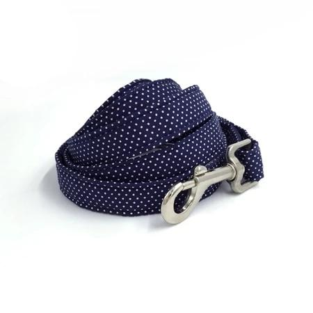 Blue & White Dots Dog Collar - Designer Collars & leads for Dogs & Cats - The Paw Empire