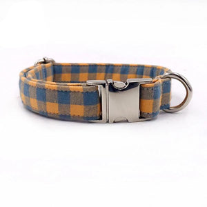 Orange Plaid Dog Collar -Designer Collars & leads for Dogs & Cats - The Paw Empire