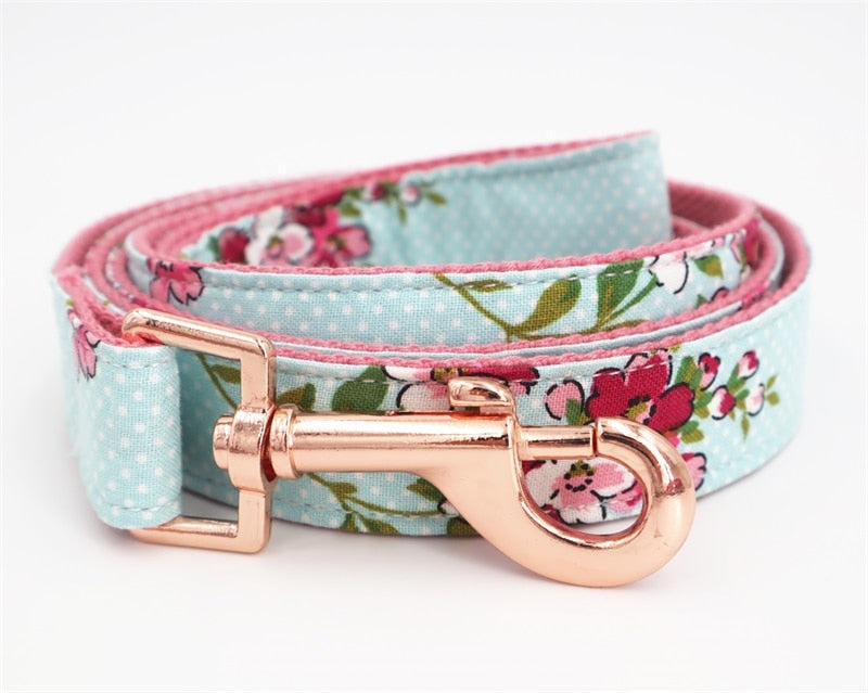 Aqua Flowers Dog Collar - Designer Dog Collars, Flower & Leads for Cats & Dogs