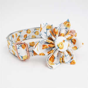 Yellow Roses Dog Collar - Designer Dog Collars, Flower & Leads for Cats & Dogs