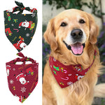 Christmas Print Dog Bandana -Stylish Santa Adjustable Pet Collar - The Paw Empire