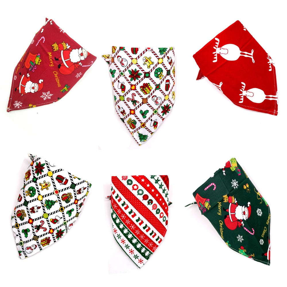 Christmas Dog Bandana -Pet Bib Dog collars