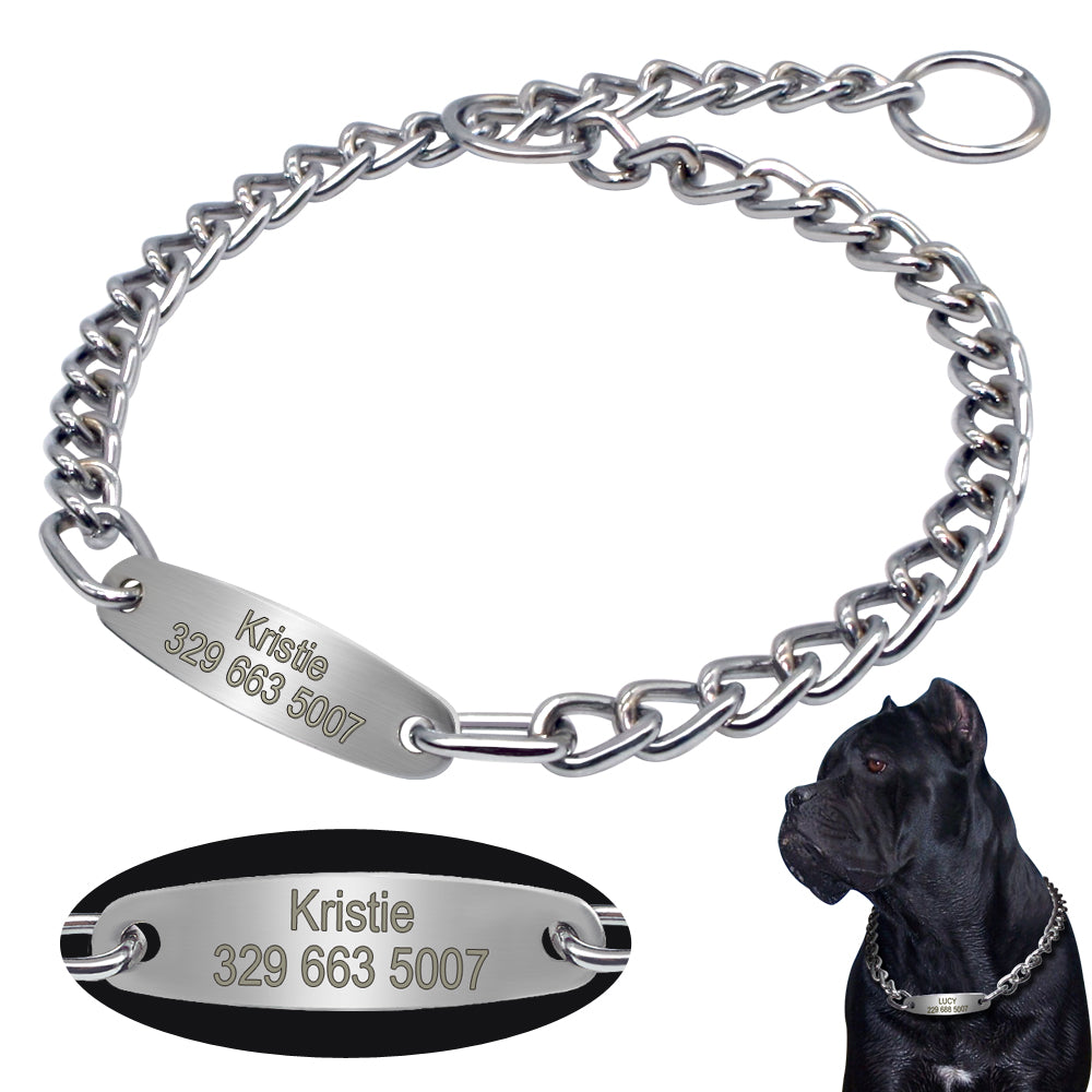 Personalized Dog Chain  with Custom engraved ID nameplate- Training Slip Choker Collar - The Paw Empire