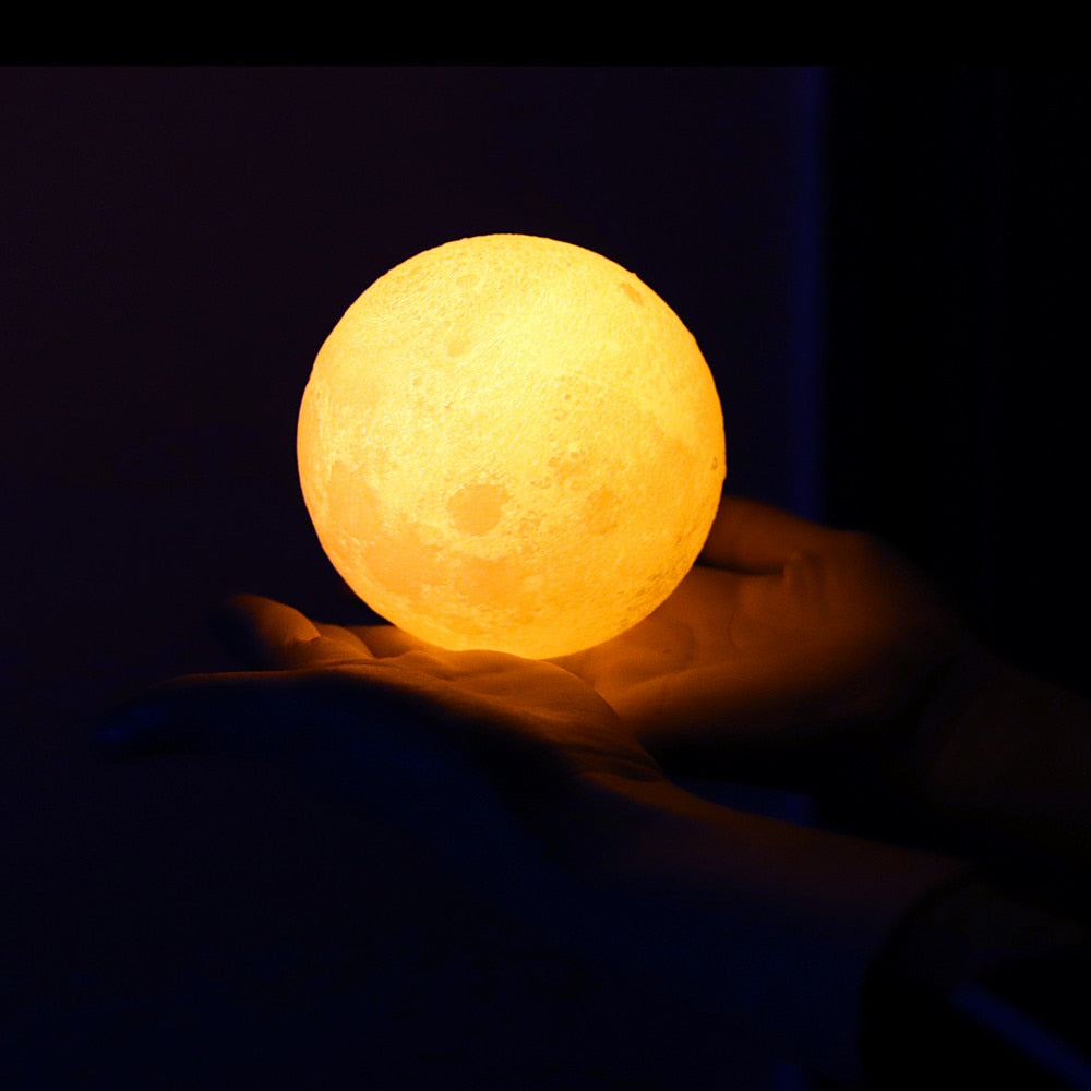 Luna Moon Light Lamp - 3D Print Moon Night Light  With Stand - USB Charger