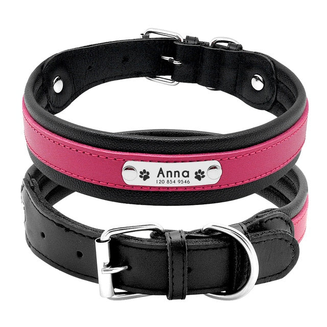 Personalised Leather Dog Collar -  M, L, XL Engraved  Adjustable Pet Collar