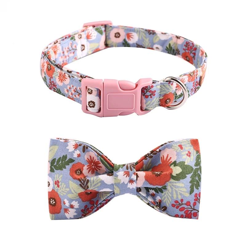 Pink Floral Dog Collar- Designer Collars, Leads, bowties for Cats & Dogs - The Paw Empire