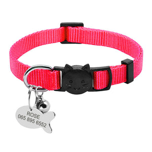 Quick Release Small Cat Collar wth tag- Free Personalised Engraving - The Paw Empire