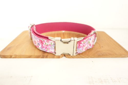 Dog Collar & Cat Collars- Pink Flower- Personalised Designer Pet Collars, Bowties & Lead Sets