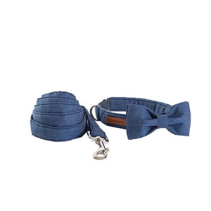Cowboy Denim Dog Collar- Designer Collars & Leads for Dogs & Cats - The Paw Empire