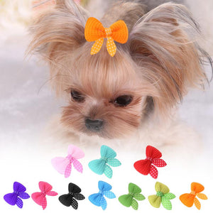 Handmade Pet Bow Hair Clip - 10 Pack Dog or Cat Fur Clips - The Paw Empire