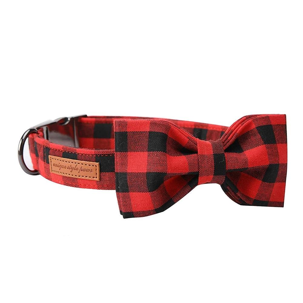 the-paw-empire - Christmas Black & Red Plaid- Designer Dog & Cat Collars & Lead sets - Dog Collar
