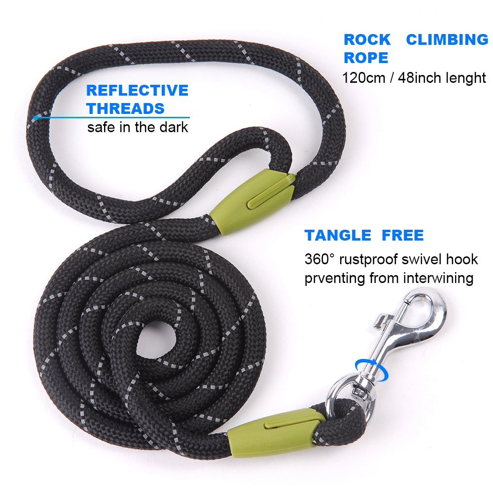 Reflective Thick Dog Lead For Small Medium & Large Dogs- Nylon Pet Leashes - The Paw Empire