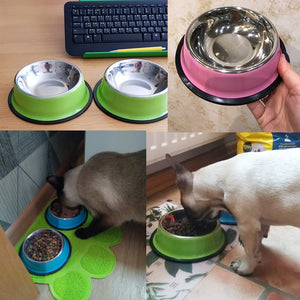 Dog Food Bowl cups- Stainless Steel Pet Water & Food travel dishes for Cats & Dogs - The Paw Empire