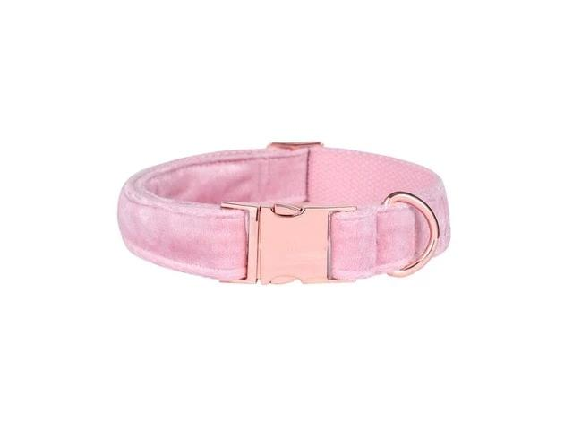 The Riley Pink Velvet Rose gold Collars & Leads- Designer Dog & Cat Collars & Leashes Sets - The Paw Empire