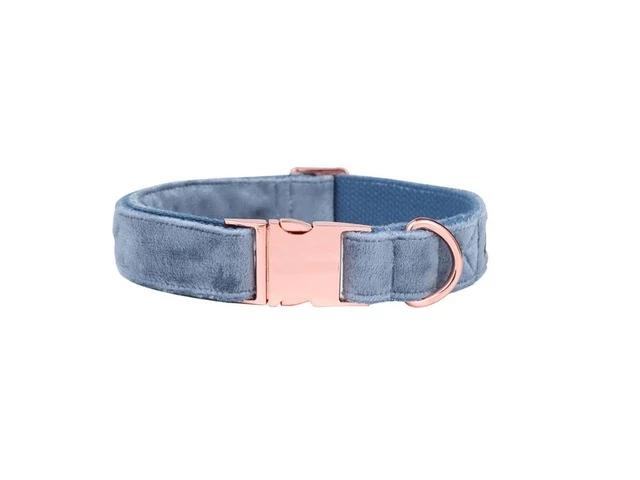 The Jasper Blue Velvet Rose gold Collars & Leads- Designer Dog & Cat Collars & Leashes Sets - The Paw Empire