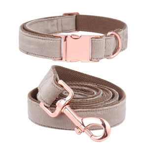 Neutral Velvet Rose gold Collars & Leads- Designer Dog & Cat Collars & Leashes Sets - The Paw Empire