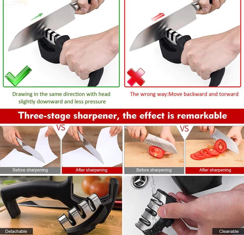 the-paw-empire - Professional Knife Sharpener - 3 Stage Kitchen Sharpening Stone Grinder -