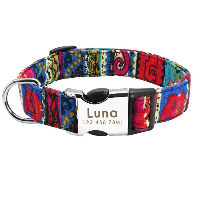 Funky Personalised Nylon Dog Collar for Small, Medium, Large Dogs - The Paw Empire