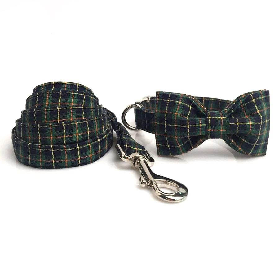 the-paw-empire - Christmas Green Plaid -Designer Dog Collar and Leash Sets -