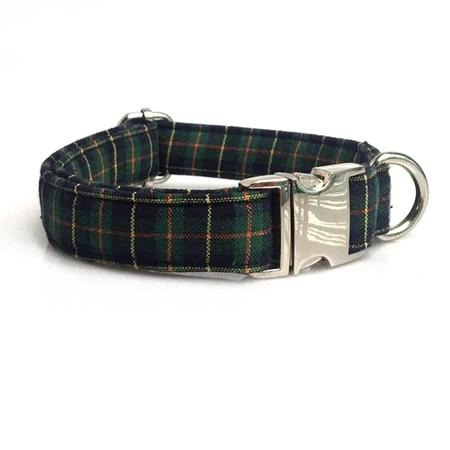 Christmas Green Plaid Dog Collar -Designer Dog Collar & Leash Sets - The Paw Empire