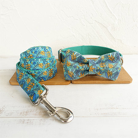 Personalised Dog Collars & Cat Collars- The Leaf-Designer Dog & Cat Collars, Bowties & Lead Sets - The Paw Empire