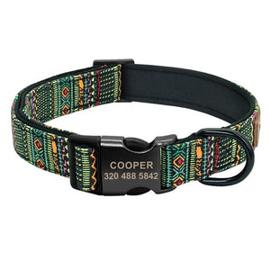 Personalized Dog Collar & Cat Collar- Five Funky Pattern adjustable Nylon nameplated Collars - The Paw Empire