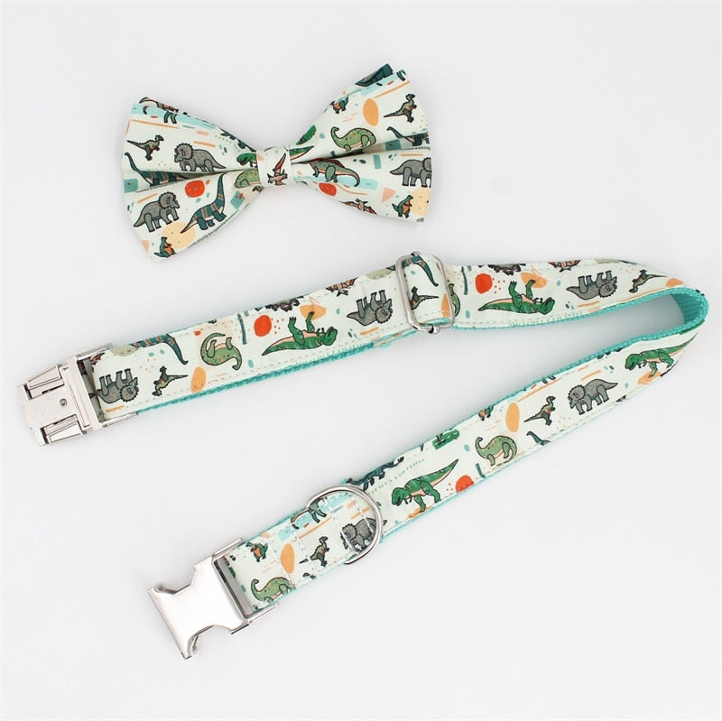 Dashing Dinosaurs Dog Collar - Designer 100% Cotton Collars, Bowties & Leads for Dogs & Cats - The Paw Empire