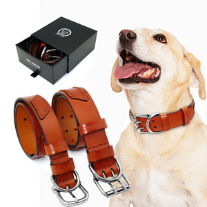 Genuine Leather Dog Collars - Adjustable collars For Medium Large Dogs & Pets - The Paw Empire