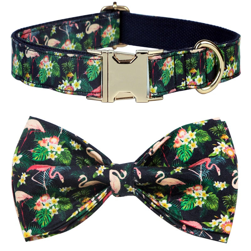 Tropical Flamingo Dog Collar- Designer Dog Collar & Cat Collar with Bow tie - The Paw Empire