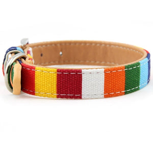 Rainbow Striped Dog & Cat Collar - X-small to XX- Large Dog Collars - The Paw Empire