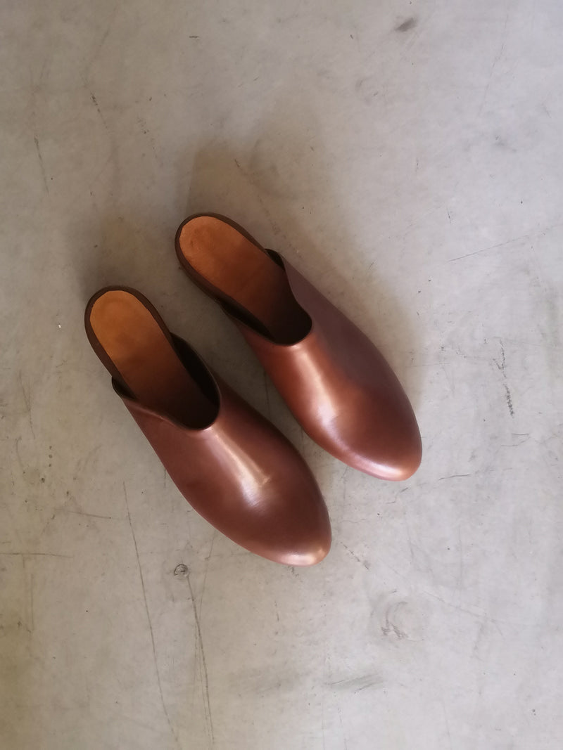 Round Brown Mules - Covered Heels