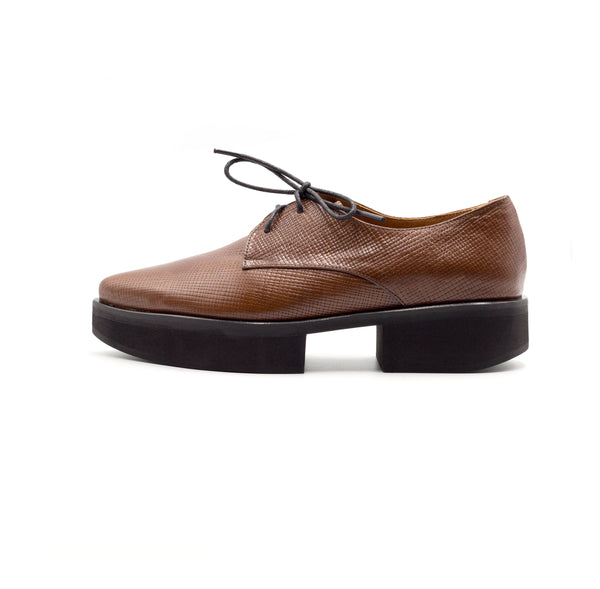 Stockholm - Brown leather platform shoes