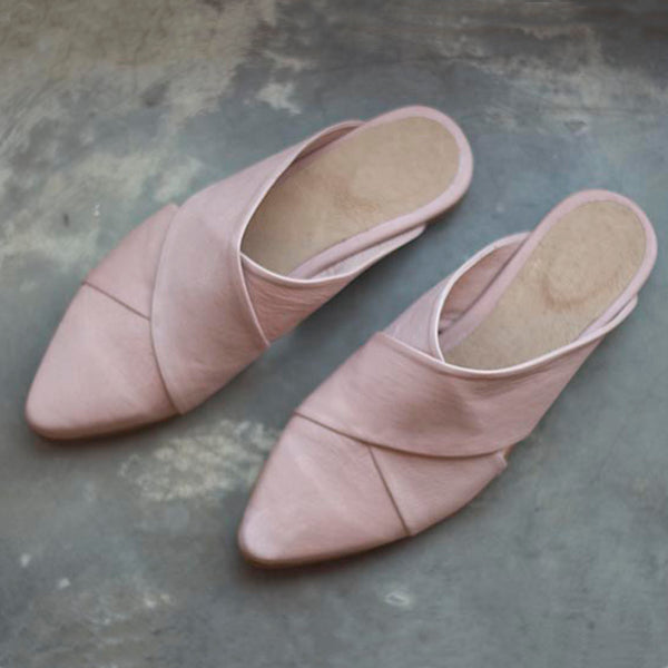 Stork - Pointed Toe Flats, Pink