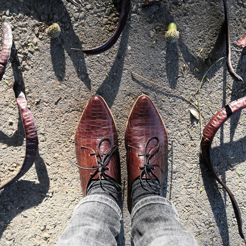 Brown oxfords with texture