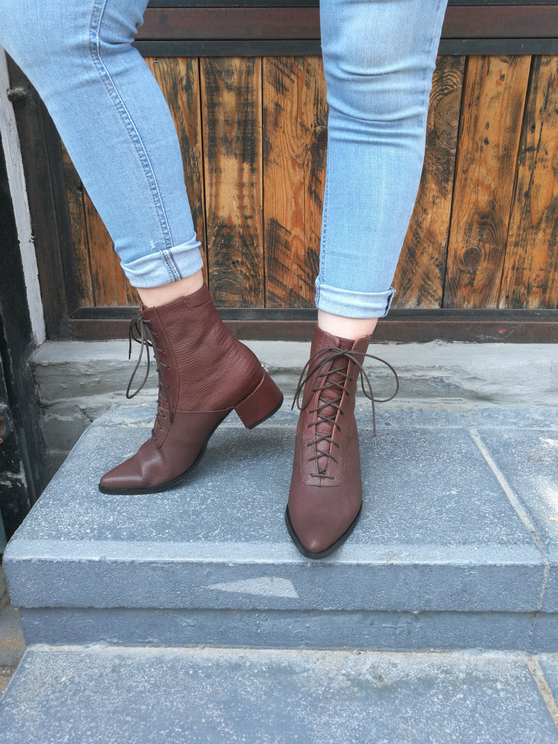 Brown Leather Boots- Koniak