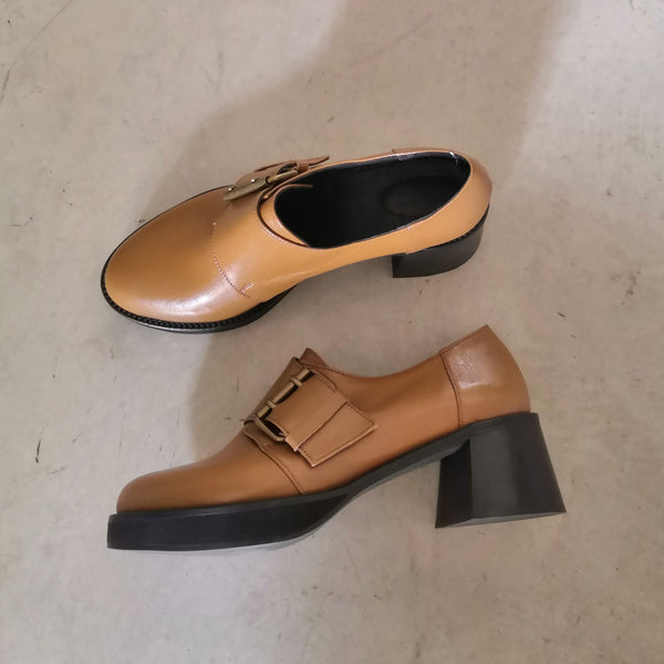 Checkmate-Brown Platform Shoes with side buckle