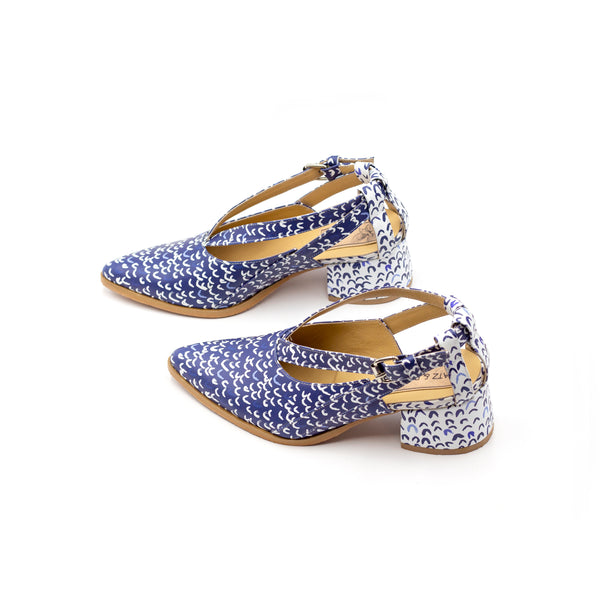 Blue Printed Summer Shoes with Heels- Seagull