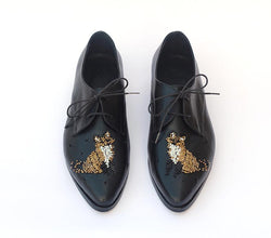 Fox Embroidered Shoes with beads
