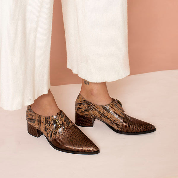 Brown Starling- Single buckle Shoes For Women