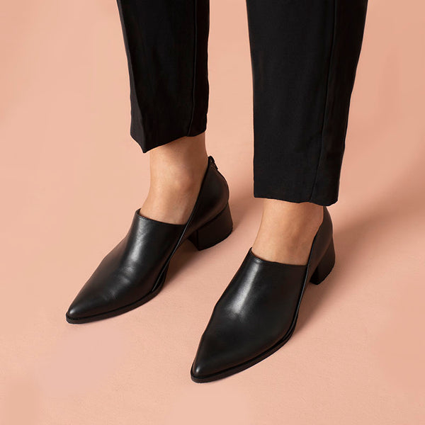 Envelope- Black Leather Heel Shoe