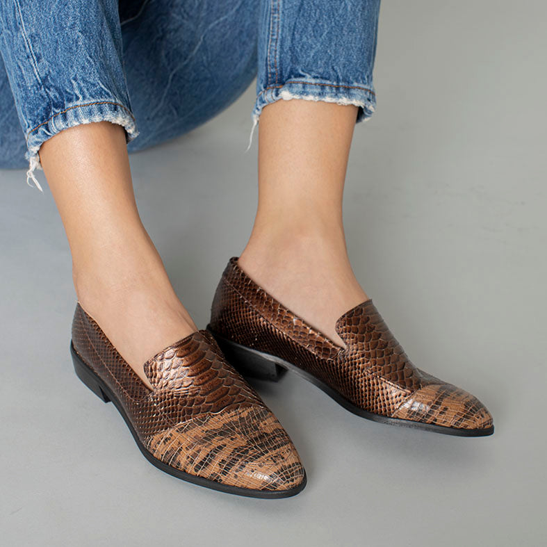 Brown Berlin - Snake Pattern Moccasins Shoes
