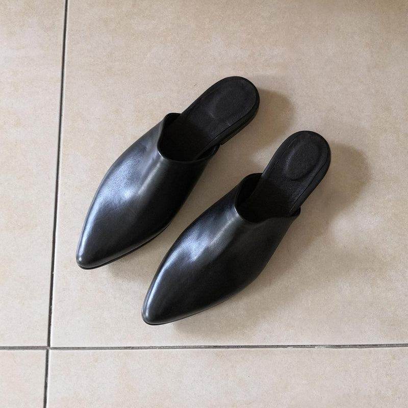 Flat Black Mules Covered Heel 1.5 cm