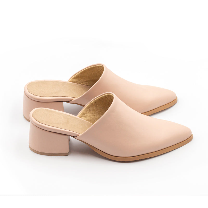Pink Mules Covered Heel